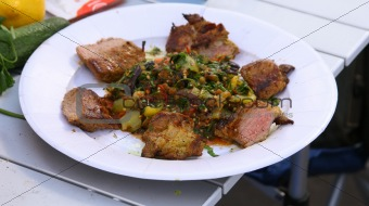 BBQ grilled meat and vegetables