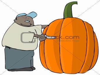 Carving A Giant Pumpkin