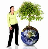 woman protecting the planet