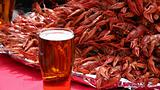 Mug of beer and crayfishes