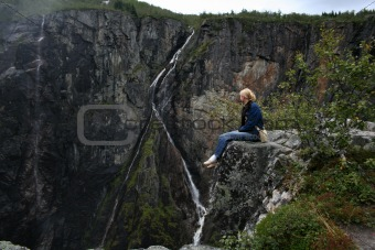 Norwegian waterfall Voringfossen