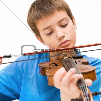 caucasian boy learning to play violin, isolated on white background, square crop