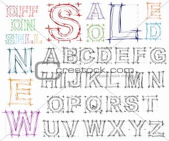 Sketch design hand drawn alphabet. Vector