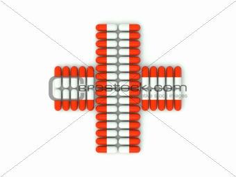 Cross shape from pills