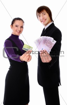 boy with the money and girl with the credit card are smiling