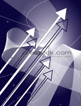 Abstract blue background with the arrows