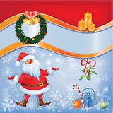 Card with Santa and  Christmas decor