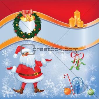 Card with Santa and  Christmas decor