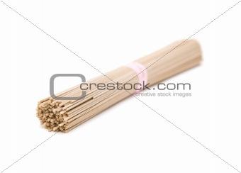 One bundle of Japanese buckwheat soba noodle; isolated on white background;