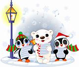 Christmas carolers   polar bear and two penguins