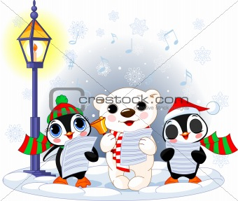 Christmas carolers –  polar bear and two penguins