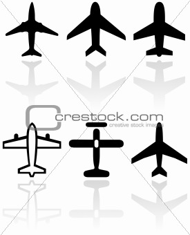 Airplane symbol vector set.