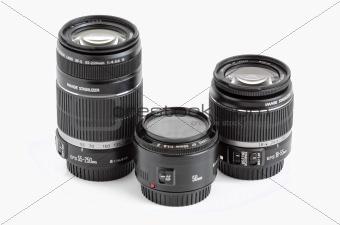 A set of three lenses for DSLR camera