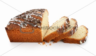 Sliced loaf of sweet bread with chocolate chips