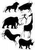 vector - various animals a la cave painting
