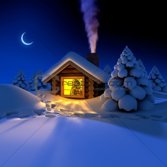 Little house in the woods on New Year's nightst on the eve of New Year