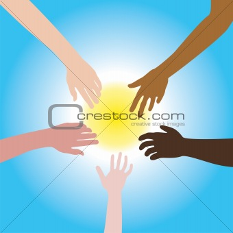 five hands of different races