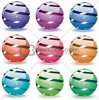 3d shiny globes