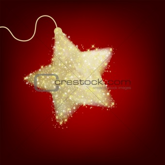Postcard with a twinkling red star. EPS 8