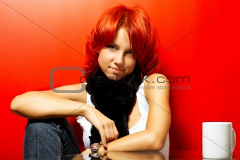 portrait of the beautiful redhead woman
