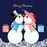 Christmas Kissing Snowman Couple Giving Gifts