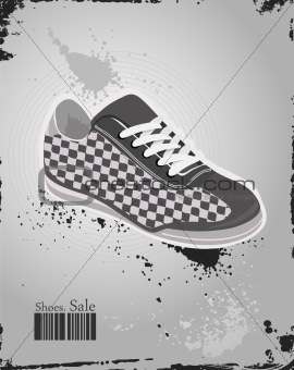Sport shoes, sneakers on vector grey background
