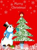 Christmas Snowman Hanging Ornament on Tree with Red Cardinal Bir