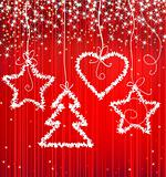Christmas red sparkle background with tree, star, heart