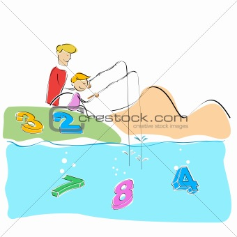 father and son fishing numbers
