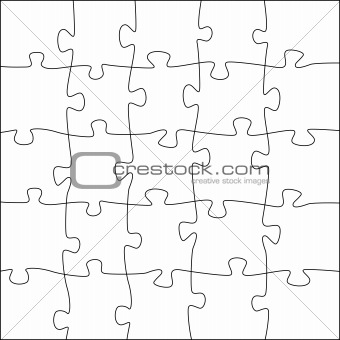 5x5 jigsaw puzzle template - irregular pieces