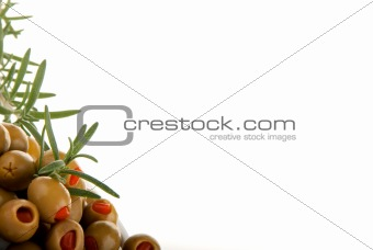 Green olives with red papper
