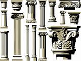 Vector set of vintage ancient columns