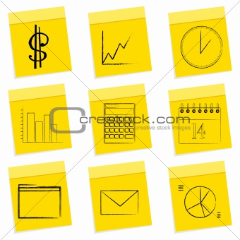 business icons, sticky notes
