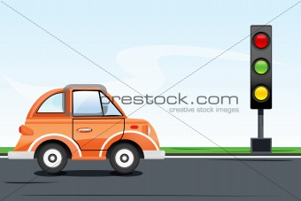 traffic signal with car on road