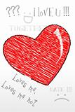 sketched heart with love text all around