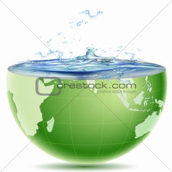 globe core with water splashing out