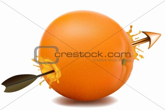 arrow going through an orange