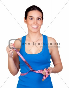 Attractive girl with tape measure