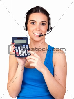 Attractive teleoperator with headphones and a calculator