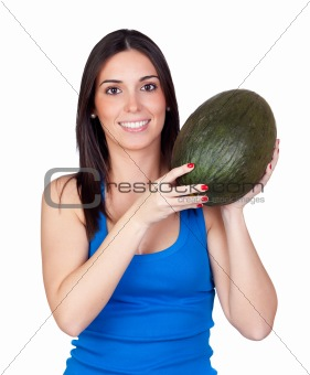 Beautiful girl with a green melon