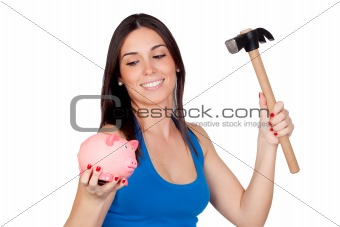 Beautiful girl with piggy-bank