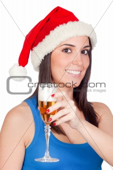 Beautiful girl with Christmas hat providing