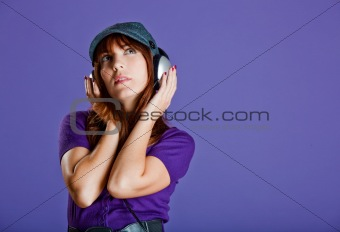 Beautiful woman listening music