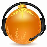 headphone with christmas ball