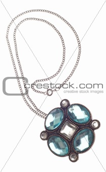Costume Jewelry Necklace with Large Blue Stones