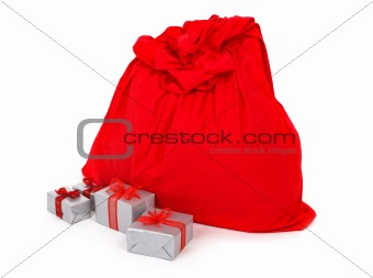 sack of santa claus and presents