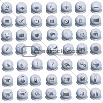 Grey interface icons set