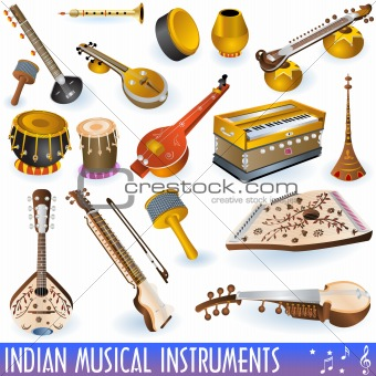 Collection of different traditional indian musical instruments