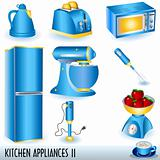 Blue kitchen appliances icons set
