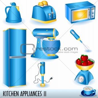 Blue kitchen appliances icons set